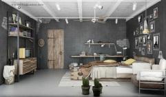 Blalank Design - Photo: http://www.homedesign9.com/2012/11/industrial-bedrooms-interior-design.html