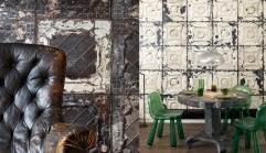 Rough tiles mixed with a modern chair, gives the room a cool edge! Photo source: http://abigailahern.com