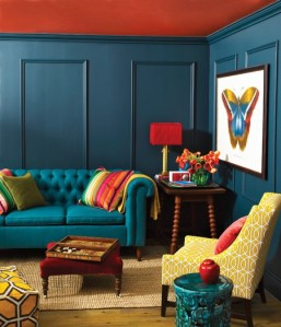 Photo: http://www.beeboats.com/bring-happy-atmosphere-in-appealing-colorful-living-room-design/blue-wall-and-red-ceiling/
