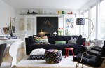 astounding-living-room-interior-design-with-blue-theme-sofa-armchair-cushion-pouf-and-archlamp-with-desk-bookshelf-pictures-and-wall-decor-with-large-window-rug-and-wooden-flooring-as-ma