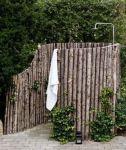 Wooden garden shower